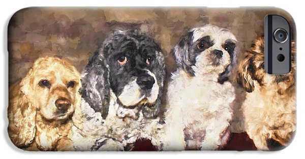 Recently Sold -  - Black Dog iPhone Cases - The Four Amigos iPhone Case by Janice Rae Pariza