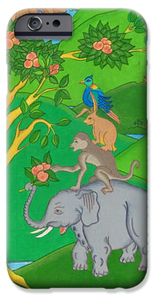 Tibetan Buddhism iPhone Cases - The Four Harmonious Friends iPhone Case by Berty Sieverding