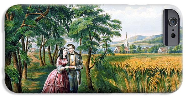 Currier iPhone Cases - The Four Seasons of Life  Youth  The Season of Love iPhone Case by Currier and Ives