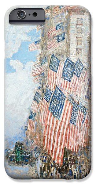 Recently Sold -  - 4th July Paintings iPhone Cases - The Fourth of July iPhone Case by Childe Hassam
