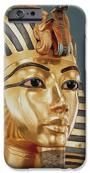 Ruler iPhone Cases - The funerary mask of Tutankhamun iPhone Case by Unknown
