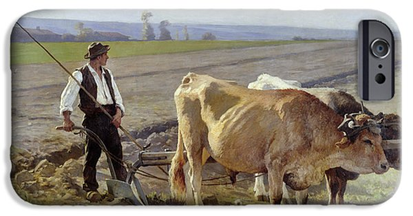Agricultural Paintings iPhone Cases - The Furrow iPhone Case by Edouard Debat-Ponsan