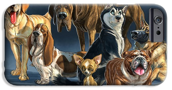 Huskies Digital Art iPhone Cases - The Gang 2 iPhone Case by Aaron Blaise