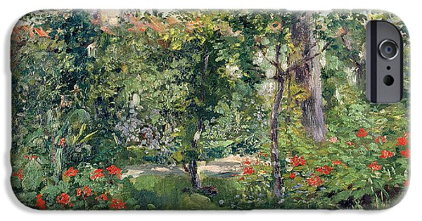 Garden Scene Paintings iPhone Cases - The Garden at Bellevue iPhone Case by Edouard Manet
