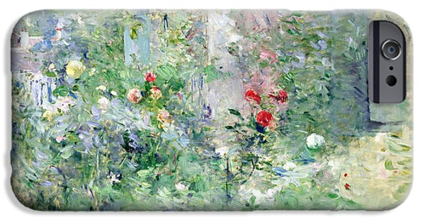 Home Paintings iPhone Cases - The Garden at Bougival iPhone Case by Berthe Morisot
