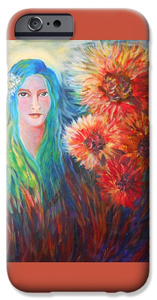 Young Paintings iPhone Cases - The Garden Flower iPhone Case by Carolyn LeGrand