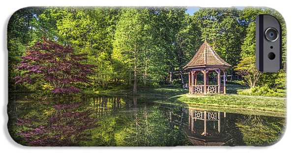 Reflections In River iPhone Cases - The Garden Gazebo iPhone Case by Debra and Dave Vanderlaan
