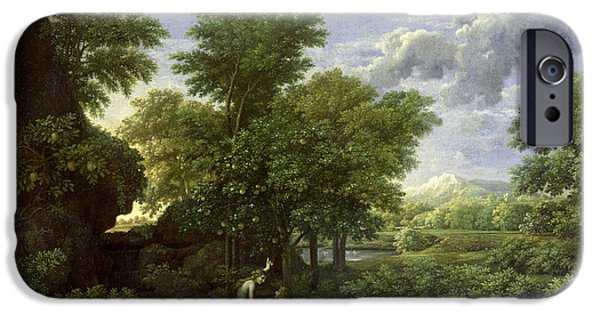 Old Testament iPhone Cases - The Garden of Eden iPhone Case by Nicolas Poussin