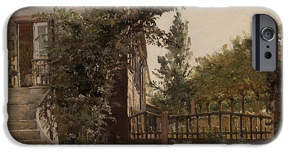 Steps Paintings iPhone Cases - The Garden Steps iPhone Case by Christen Schjellerup Kobke