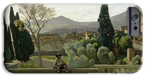 1796 iPhone Cases - The Gardens of the Villa dEste iPhone Case by Jean Baptiste Camill  Corot