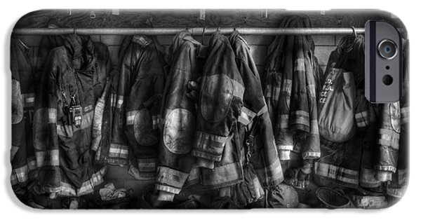 Reflective iPhone Cases - The Gear of Heroes - Firemen - Fire Station iPhone Case by Lee Dos Santos
