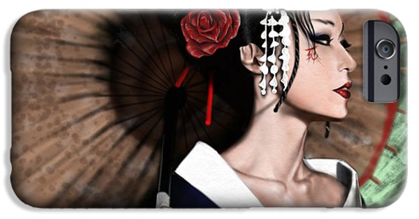 Up iPhone Cases - The Geisha iPhone Case by Pete Tapang