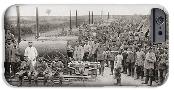 Ww1 Drawings iPhone Cases - The German Armys  Field Bakeries During iPhone Case by Ken Welsh