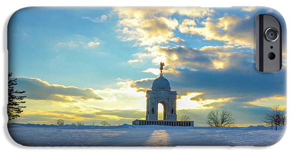 Gettysburg Digital iPhone Cases - The Gettysburg Memorial at Sunset iPhone Case by Bill Cannon