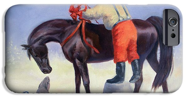 Christmas Greeting Paintings iPhone Cases - The Gift Horse iPhone Case by Jeanne Newton Schoborg