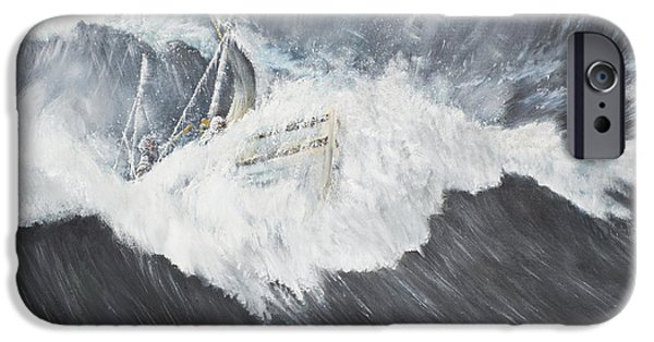 Boat iPhone Cases - The Gigantic Wave iPhone Case by Vincent Alexander Booth