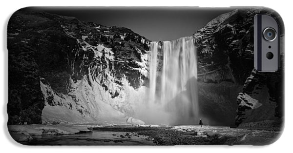 Figures Pyrography iPhone Cases - The girl and Skogafoss iPhone Case by Juan Pablo De Miguel