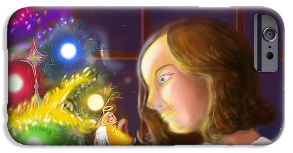 Night Angel iPhone Cases - The Girl and the Angel of the Tree iPhone Case by John Ridley