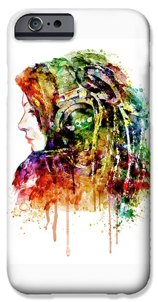Electronic iPhone Cases - The Girl is a DJ iPhone Case by Marian Voicu