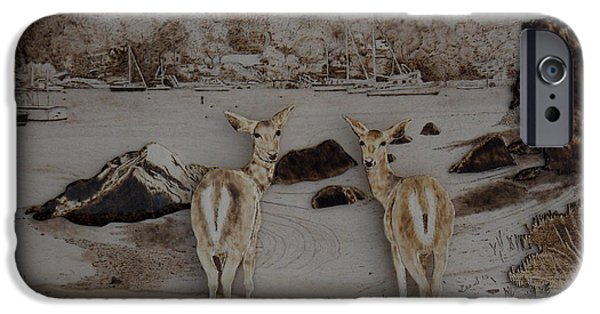 Cape Cod Pyrography iPhone Cases - The Girls Visit Cape Cod iPhone Case by H Leslie Simmons