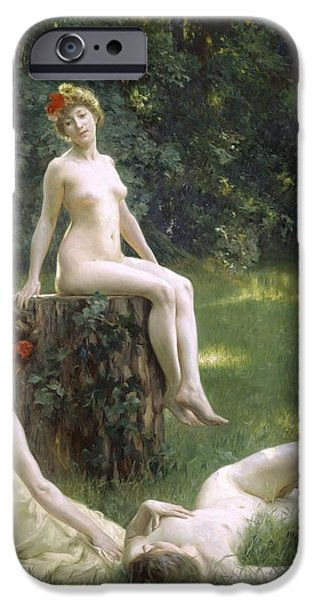 Lesbian Paintings iPhone Cases - The Glade iPhone Case by Julius Leblanc Stewart