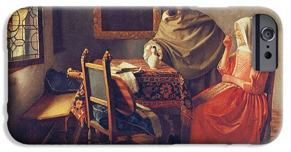 Flooring iPhone Cases - The Glass of Wine iPhone Case by Jan Vermeer