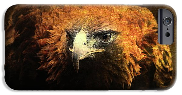 Red Tail Hawk Digital Art iPhone Cases - The Golden Hawk Locks On Target . R3593 iPhone Case by Wingsdomain Art and Photography