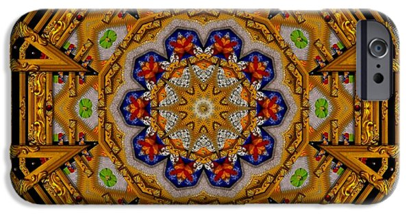 Tibetan Buddhism Mixed Media iPhone Cases - The golden sacred mandala in wood iPhone Case by Pepita Selles