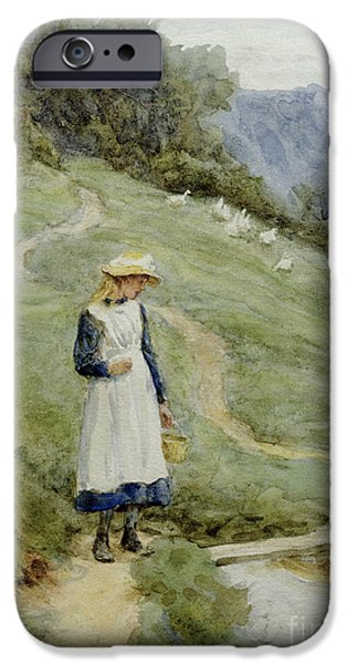Apron iPhone Cases - The Goose-Girl  iPhone Case by Helen Allingham