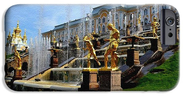 Business Paintings iPhone Cases - The Grand Cascade Peterhof Palace St. Peterburg Russia Catus 1 no. 1 A H b iPhone Case by Gert J Rheeders