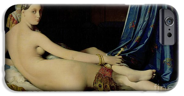 Nudes Female Paintings iPhone Cases - The Grande Odalisque iPhone Case by Ingres