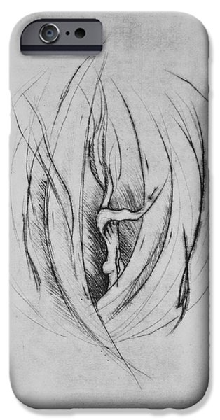 Drypoint iPhone Cases - The Grave I iPhone Case by Kiradee Ketakinta