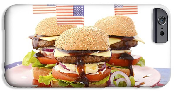 Independance Day Photographs iPhone Cases - The Great BBQ Hamburger with Flags iPhone Case by Milleflore Images
