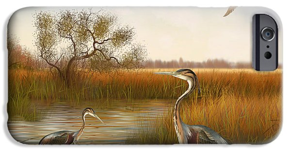 Willow Lake iPhone Cases - The Great Marsh-JP2860 iPhone Case by Jean Plout