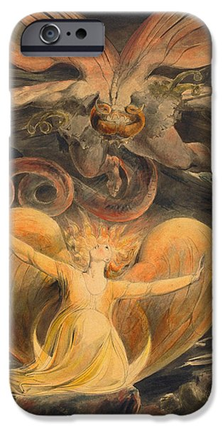 William Blake Drawings iPhone Cases - The Great Red Dragon and the Woman Clothed with the Sun iPhone Case by William Blake