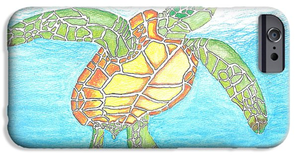 Marine Pastels iPhone Cases - The Great Sea Turtle iPhone Case by Ricardo Gonzalez