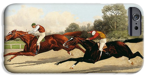 Race Horse Paintings iPhone Cases - the Great Ten Thousand Dollar Match iPhone Case by Henry Stull