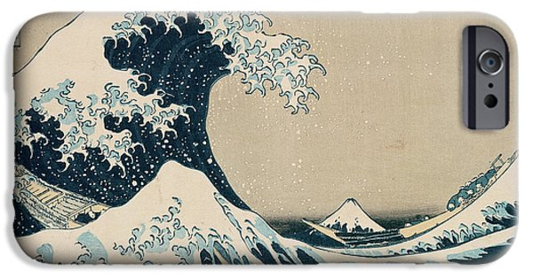 Shower Curtain iPhone Cases - The Great Wave of Kanagawa iPhone Case by Hokusai