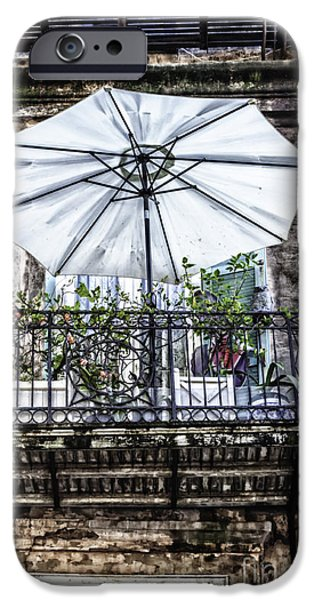 Balcony iPhone Cases - The Green Umbrella On The Balcony iPhone Case by Frances Ann Hattier