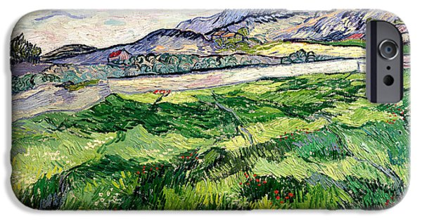 Asylum iPhone Cases - The Green Wheatfield behind the Asylum iPhone Case by Vincent van Gogh