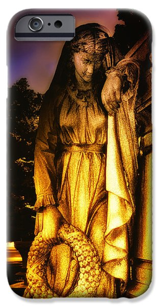 Grave Yard iPhone Cases - The Grieving Widow iPhone Case by Bill Cannon
