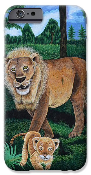 Wild Animals Tapestries - Textiles iPhone Cases - The Guardian 2 iPhone Case by To-Tam Gerwe