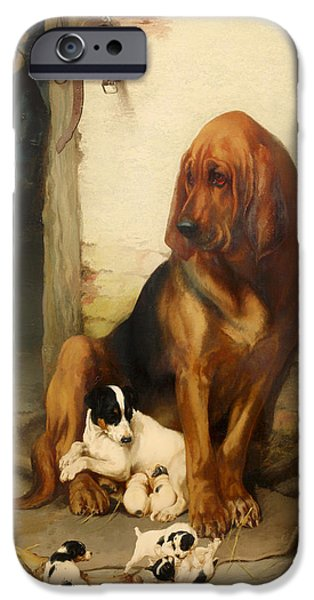 Puppies iPhone Cases - The Guardian iPhone Case by William Henry Hamilton