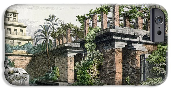 Ruin Drawings iPhone Cases - The Hanging Gardens of Babylon iPhone Case by Ferdinand Knab