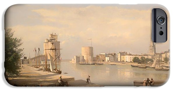 Boat iPhone Cases - The Harbor of La Rochelle iPhone Case by Jean-Baptiste-Camille Corot