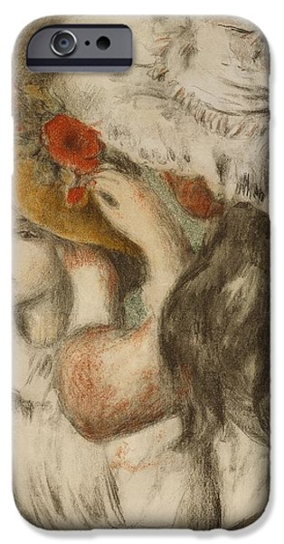 Young iPhone Cases - The Hatpin iPhone Case by  Pierre Auguste Renoir