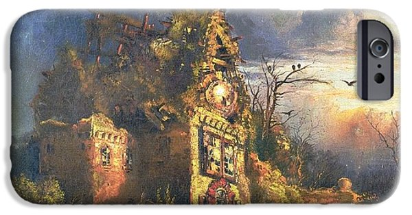 Hudson River iPhone Cases - The Haunted House iPhone Case by Thomas Moran