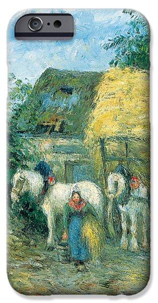 Camille Pissarro iPhone Cases - The Hay Cart Montfoucault iPhone Case by Camille Pissarro