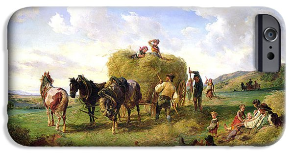 Agricultural iPhone Cases - The Hay Harvest iPhone Case by Hermann Kauffmann
