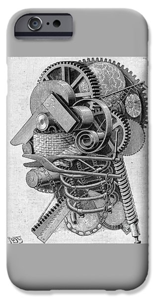 Mechanics Drawings iPhone Cases - The Head of an Inventor iPhone Case by Louis Poyet